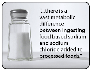 There is a vast metabolic difference between ingesting food based sodium and sodium chloride added to processed foods.