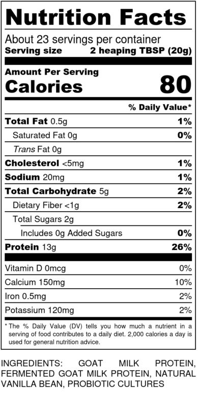 Caprotein Nutrition Label