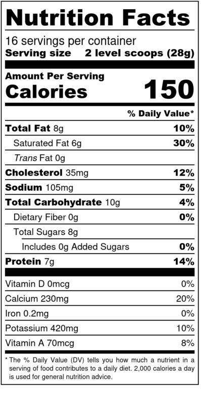 Whole Goat Milk 1 lb Nutrition Facts