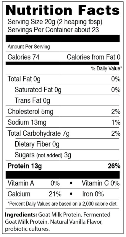 nutrition facts panel for caprotein goat milk casein and whey protein