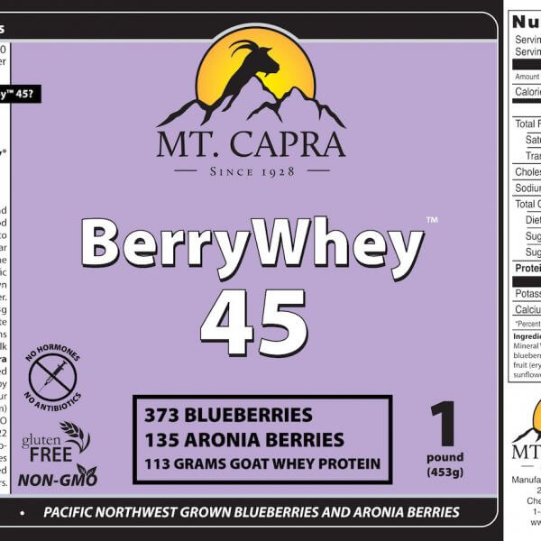 berrywhey 45 pacific northwest grown blueberries aronia berries and goat milk protein product label