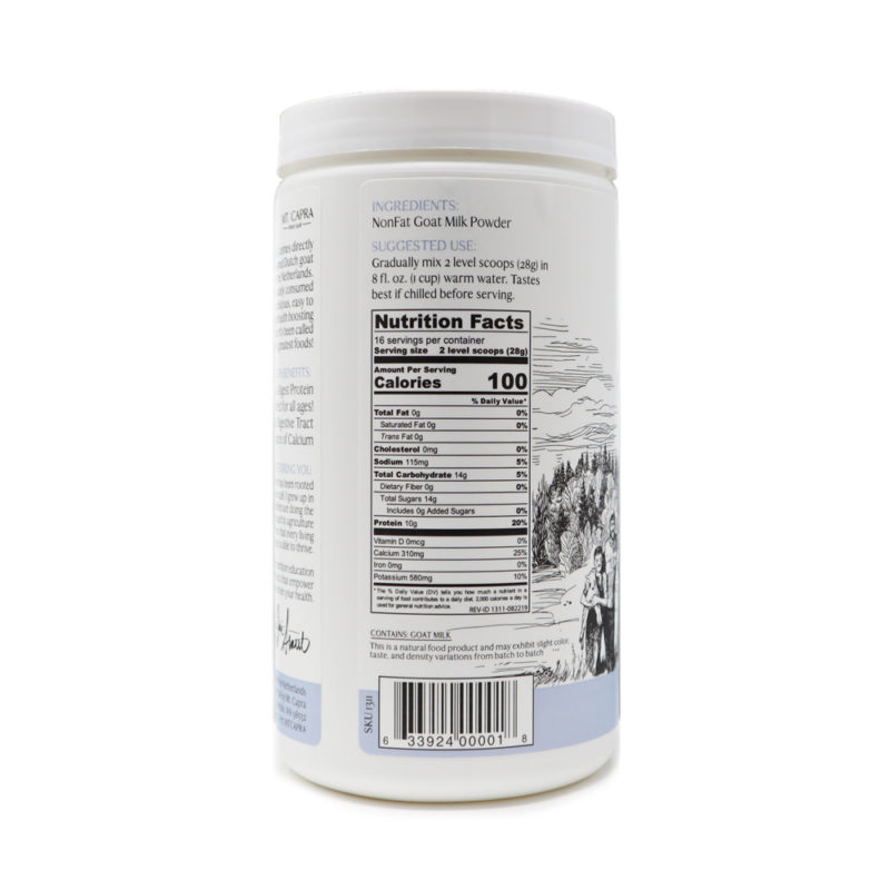 nonfat goat milk powder nutrition facts panel