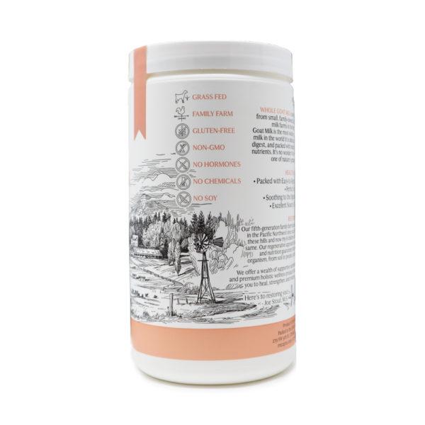 Whole Goat Milk Powder Side of Bottle