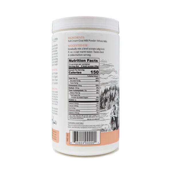 Whole Goat Milk Powder Nutrition Facts Panel