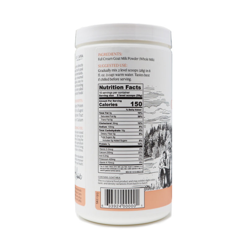 Whole Goat Milk Powder Nutrition Facts Panel