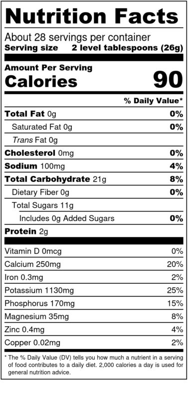 720 g CMW Nutrition Facts