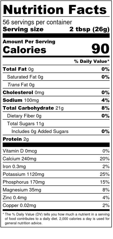 1440 g CMW Nutrition Facts